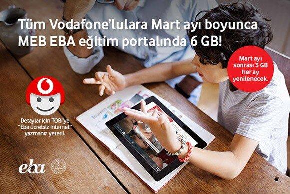 Tüm Vodafone'lulara Nisan ayı boyunca MEB EBA eğitim portalında 6 GB! TRT EBA TV kanalları mobil internetinizden yemeden Vodafone TV'de!