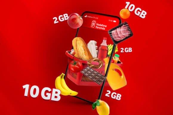Sen de hemen Vodafone Yanımda'ya gir, Süpermarket Yanımda'ya tıkla, ilk alışverişinde haftalık 10GB internet kazan. Sonraki tüm alışverilerinde ise haftalık 2GB internet Vodafone'dan hediye!