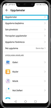 Telefonunuzdan Uygulamalar kısmına girin.
