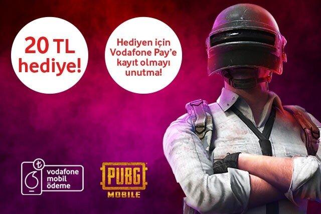 PUBG Mobile alışverişini Vodafone Mobil Ödeme ile hattına yansıt, 20 TL kazan!