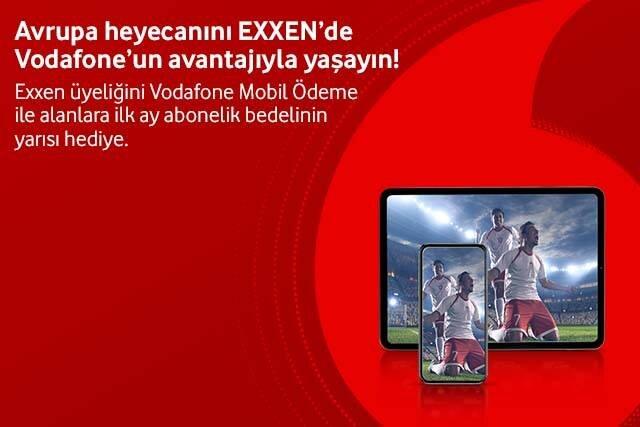 Vodafone Mobil Ödeme ile Exxen Spor üyeliğinizi başlatın, ilk ay %50 indirim kazanın!